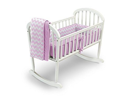 Baby Doll Bedding Chevron Cradle Bedding Set, Pink