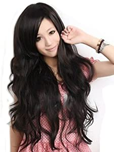 Cool2day Sexy Women's Long Wavy Wig+wig Cap (Model: JF010577) (Black).