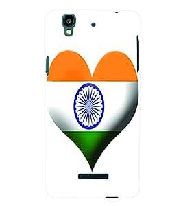 Fuson 3D Printed India Flag Designer Back Case Cover for Yu Yureka - D611