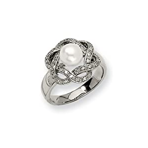 Black Bow Jewellery Company : Flowering Pearl and CZ Ring In Stainless Steel - Size N 1/2
