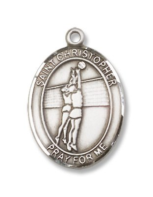 St. Chrisopher Sports Volleyball Sterling Silver Medal with 18