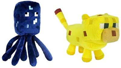 "Jazwares Set Of 2 Ocelot And Squid Minecraft Animal 7"" Plush Toy Doll"