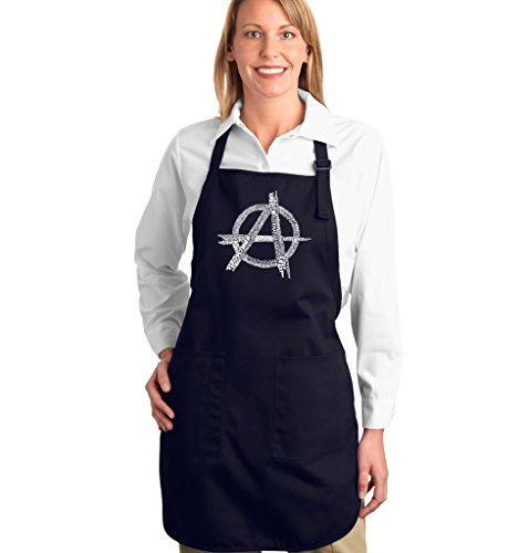 Full Length Dual Pocket Apron - Anarchy Symbol - Top All Time Punk Songs Word Art - Navy Blue