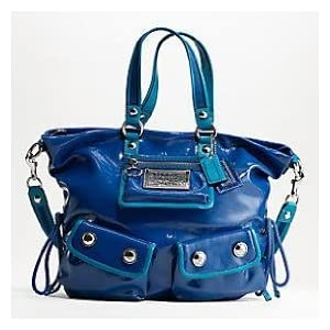 NEW AUTHENTIC COACH POPPY PATENT LEATHER POCKET LARGE SPOTLIGHT 13869 (Blueberry/Silver)