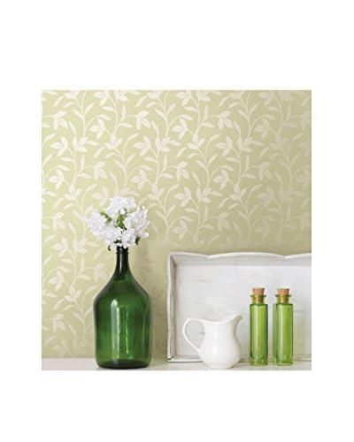 Brewster Cynthia Tonal Leaf Trail Strippable Wallpaper, Light Green