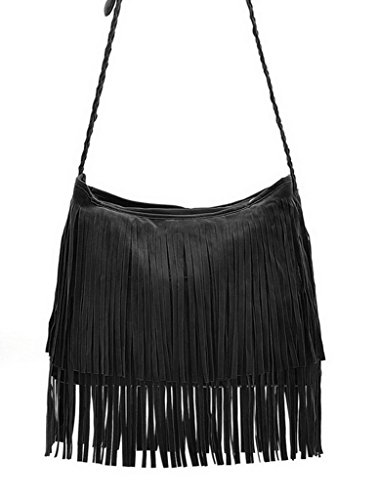 Bigood Suede Tassels Single shoulder Long straps