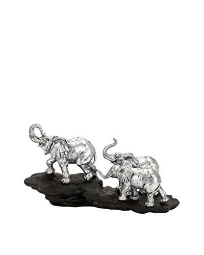 Polystone Elephant, Metallic Silver