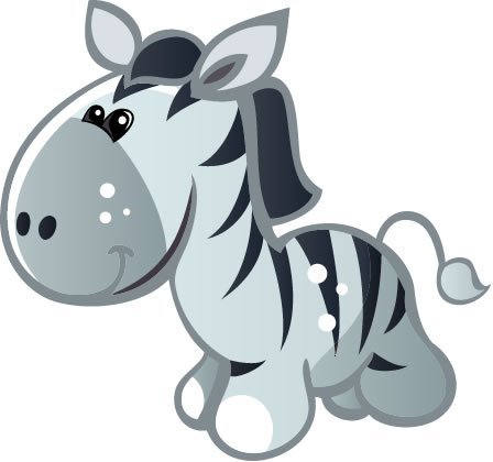 Children'S Wall Decals - Blue Zebra With White Spots, Grey Nose, Black Mane - 24 Inch Removable Graphic