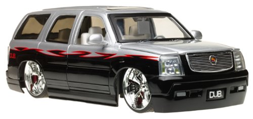 2002 Cadillac Escalade 1:18 Scale Die-Cast Model SUV - Silver/Black w/ Spintek Wheels