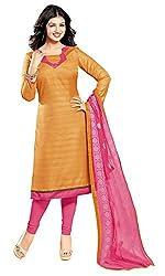 Khoobee Presents Bhagalpuri Dress Material(Light Orange,Pink)