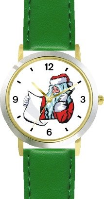Santa Claus With List On Phone Christmas Theme - Watchbuddy® Deluxe Two-Tone Theme Watch - Arabic Numbers - Green Leather Strap-Children'S Size-Small ( Boy'S Size & Girl'S Size )