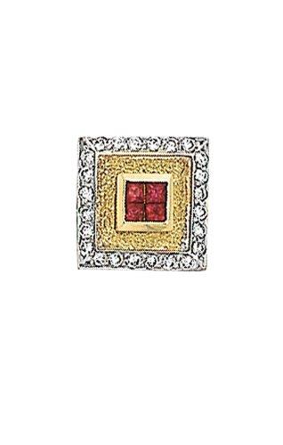 14K Yellow Gold Diamond Ruby Tie Tac-86302