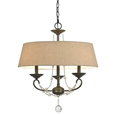 Cal Lighting FX-3532/3 3 Light Dawson Chandelier With Burlap Shade,