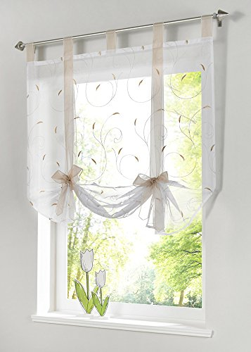 Uphome 1pc Adorable Bowknot Embroidered Floral Tie Up Roman Curtain   Tab  Top Sheer Kitchen