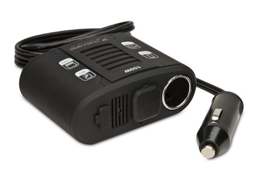 MobileSpec MS100W 100-Watt DC to AC Power Inverter with USB Input and 12-Volt Port