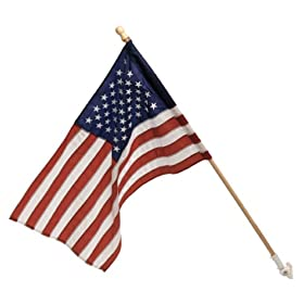 Valley Forge 30-Inch x 50-Inch U.S. Nylon Flag With Sewn Stripes & Embroidered Stars With 5-Foot Wood Pole Banner Kit With Bracket