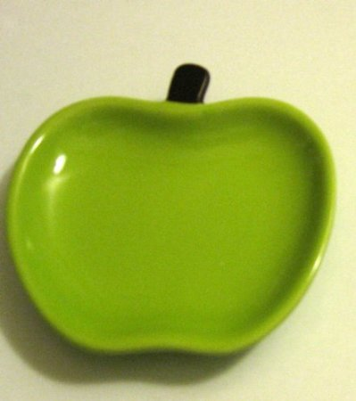 New Green Apple Fruit Design Plate Kitchen Utensil Spoon Rest Tea Bag Rest Holder Stove/ Desk Top; Multifunctional M&M'S/Skittles/Peanuts/Dessert Snack Tray Dish