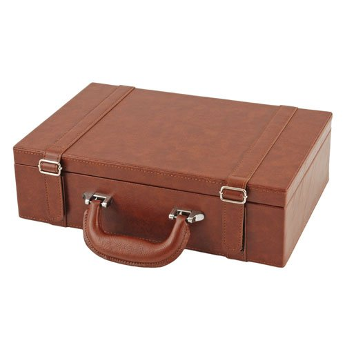 True Fabrications Suitcase Style Wood Chest Wine Box For Wine Storage Of 2 Bottles Of Wine front-331339