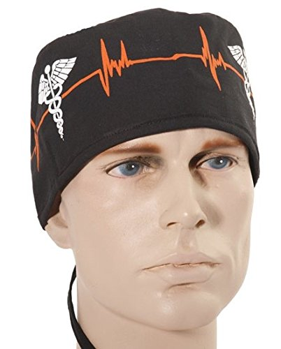 95d39dfd2bf Mens and Womens Surgical Scrub Cap - EKG Signal/Medical Sign ...