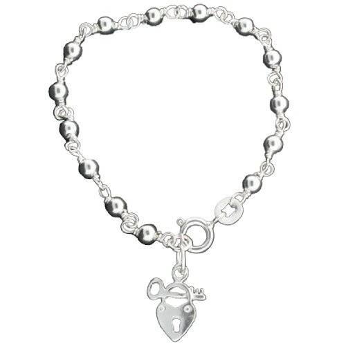 Sterling Silver 5 1/4 Inch Beaded Link Chain Baby Bracelet With Small Lock & Key Charm