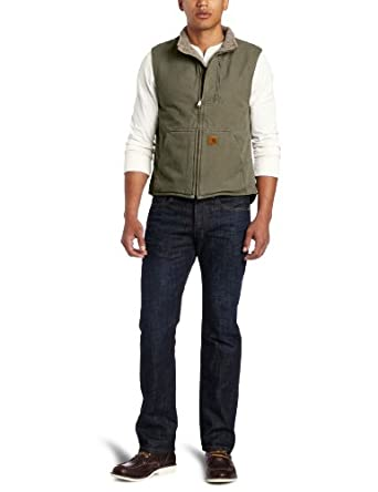 Carhartt Men's Mock Neck Vest Sherpa Lined Sandstone Duck, Army Green, Small
