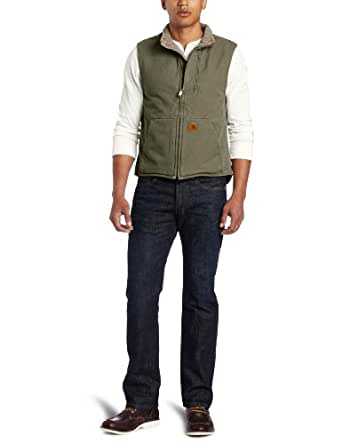 Carhartt Men's Big & Tall Mock Neck Vest Sherpa Lined Sandstone,Army Green,Large Tall