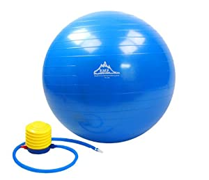 Black Mountain Products Anti Burst Exercise Stability Ball with Pump, Blue, 2000-Pound/75cm