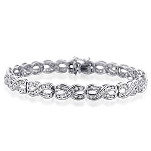 Sterling Silver 1.00 Carat Diamond Tennis-Bracelets 7.5