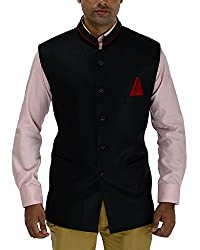 Panache Jute Men's Nehru Jacket (Black,48)
