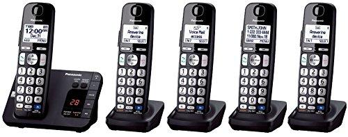 Panasonic KX-TGE233B + 2 KX-TGEA20B Handset (5 Handsets Total) DECT 6.0 Plus Cordless Phone System (KX-TGE234B + 1, KX-TGE232B + 3, KX-TGE230B + 4) (Certified Refurbished)