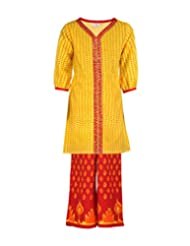 Budding Bees Girls Yellow & Red Printed Top With Palazzo Set