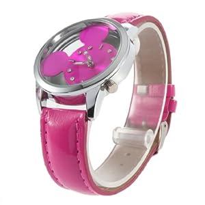 New Fashion Women Girl Disney Mickey Mouse Quartz Wrist Watch (Rose red)