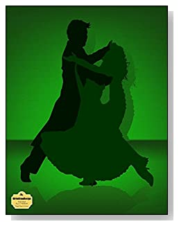 Tango Dance In Green Notebook - Love to dance? Love to Tango? Couple dancing the Tango in a green and black color scheme grace the cover of this wide ruled notebook.