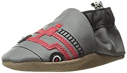 Robeez Friendly Firetruck Crib Shoe (Infant), Grey, 6-12 Months M US Infant