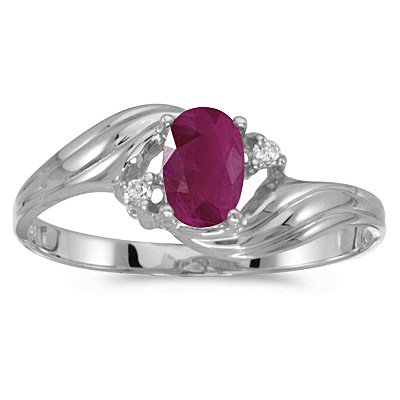 10K White Gold 0.02 ct. Diamond and 6 x 4 MM Oval Shaped Ruby Ring