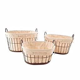 Durable Baum Brown Oval Metal Baskets with Linen Liner, Set of 3, Brown