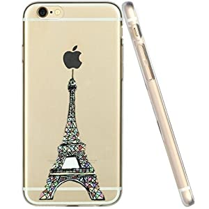 For iPhone 6 Case, Let it be Free iphone 6 (4.7-inch) Protective Case Soft Flexible TPU Transparent Skin Scratch-Proof Case for iPhone 6 (4.7-inch)- Eiffel Tower