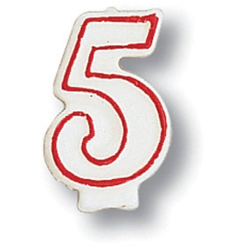 Creative Converting 80156033 #5 Red Outline Numeral Birthday Candle