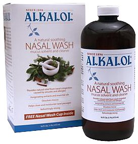 Alkalol - A Natural Soothing Nasal Wash, Mucus Solvent and Cleaner Kit -  with Cup, 16-oz.