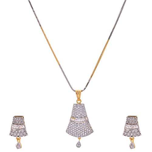 Aditri Aditri White Colour American Diamond Pendant Set For Women (Multicolor)