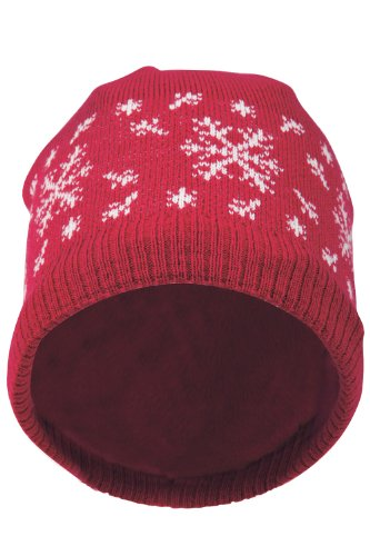 Mountain Warehouse Scandi Womens Fleece Lined Patterned Alpine Winter Warm Knitted Hat Beanie Bright Pink One Size Reviews