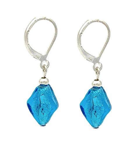 bleu-argent-verre-de-murano-style-venitien-boucles-doreilles-pendantes-femme-sure-dos-a-levier