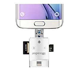 Lightning Memory Card Reader Photo Scrolling USB SDHC Micro SD Card Adapter for iPhone 6 6S Plus iPad Air 2 Android Samsung Computer Samsung Tablets, Galaxy S6 S7 S5 S4 S3, Galaxy Note 4 3 2, LG G3