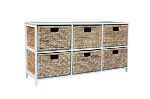 Loxley White Wood Wide Storage Unit with 6 Natural Basket Drawers