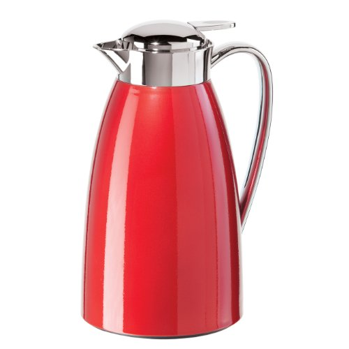 Oggi Gusto Carafe with Press Button Top and Glass Liner, 1-Liter, Red (Thermal Carafe Red compare prices)