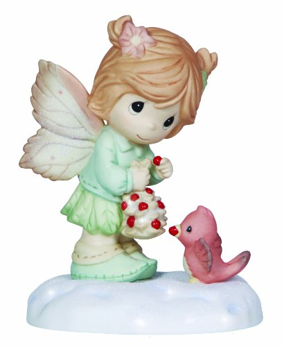 Precious Moments Girl Giving Berry to Cardinal Figurine