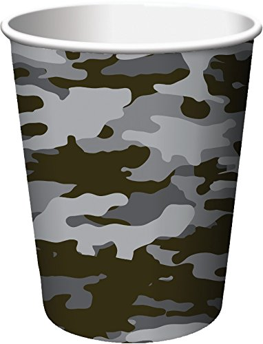 Creative Converting 8 Count Operation Camo Hot/Cold Cups, 9 oz, Gray