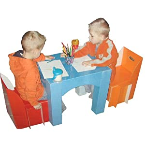 Childrens Furniture: Children's Table and Chair Set - Made of extra strong coated cardboard