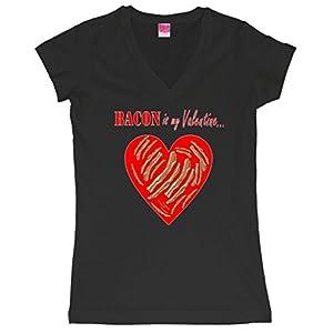Bacon Is My Valentine Funny V-Day Juniors V-Neck T-Shirt