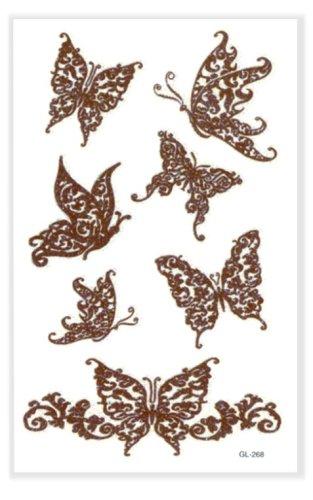 Henna Style Butterfly Glitter Temporary Tattoo #92